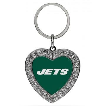 New York Jets Bling Rhinestone Heart Key Chain
