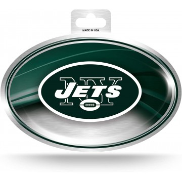 New York Jets Chrome Die Cut Oval Decal
