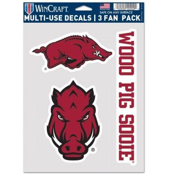 Arkansas Razorbacks 3 Fan Pack Decals