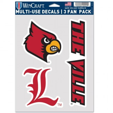 Louisville Cardinals 3 Fan Pack Decals