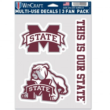 Mississippi State Bulldogs 3 Fan Pack Decals