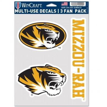 Missouri Tigers 3 Fan Pack Decals