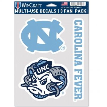 North Carolina Tar Heels 3 Fan Pack Decals