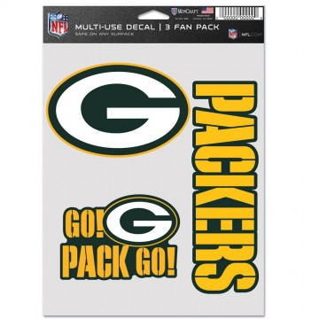 Green Bay Packers 3 Fan Pack Decals