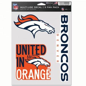 Denver Broncos 3 Fan Pack Decals