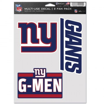 New York Giants 3 Fan Pack Decals