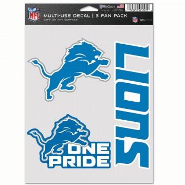 Detroit Lions 3 Fan Pack Decals