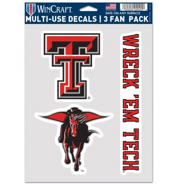 Texas Tech Red Raiders 3 Fan Pack Decals