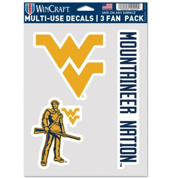 West Virginia Mountaineers 3 Fan Pack Decals