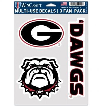 Georgia Bulldogs 3 Fan Pack Decals
