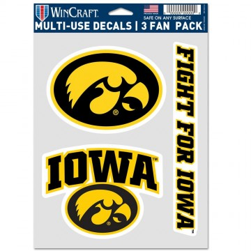 Iowa Hawkeyes 3 Fan Pack Decals
