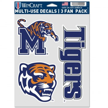 Memphis State Tigers 3 Fan Pack Decals