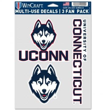 University Of Connecticut Huskies 3 Fan Pack Decals
