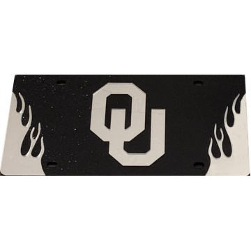 Oklahoma Sooners Black Glitter With Flames Laser License Plate