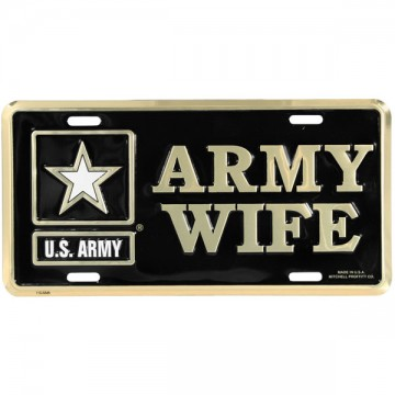 Army Wife Metal License Plate