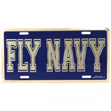 Fly Navy Script Metal License Plate