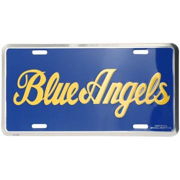 Blue Angels Script Metal License Plate
