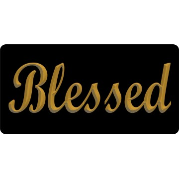 Blessed 3D Gold Photo License Plate
