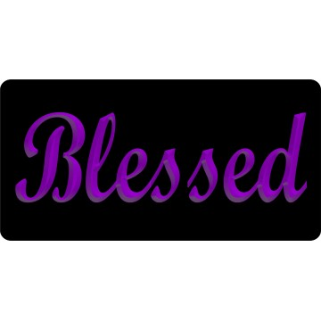 Blessed 3D Purple Photo License Plate