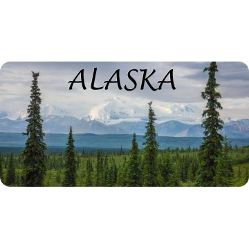 Alaska Mountain Scene Photo License Plate