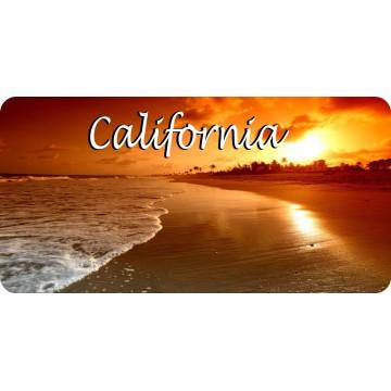 California Beach Scene Photo License Plate
