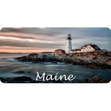 Maine Lighthouse Scene Photo License Plate