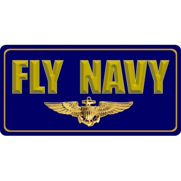 Fly Navy With Insignia Photo License Plate