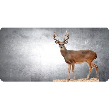 Buck Offset On Grey Photo License Plate
