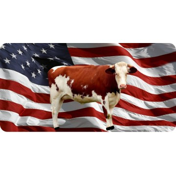 Brown Cow On Wavy Flag Photo License Plate