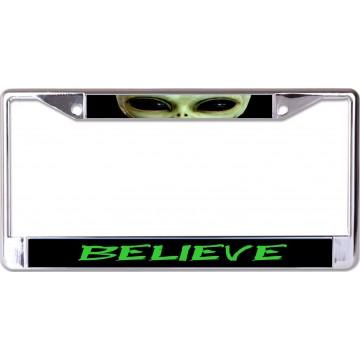 Believe Alien Chrome License Plate Frame