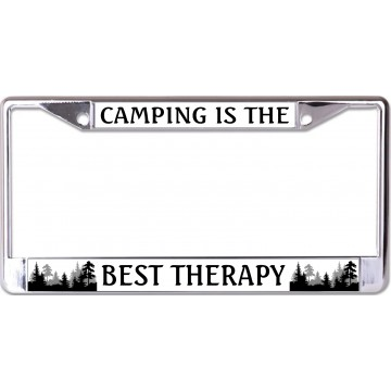 Camping Is The Best Therapy Chrome License Plate Frame