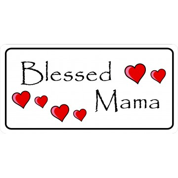 Blessed Mama With Hearts Photo License Plate