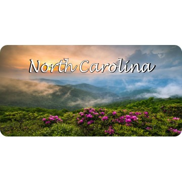 North Carolina Smoky Mountain Scene Photo License Plate