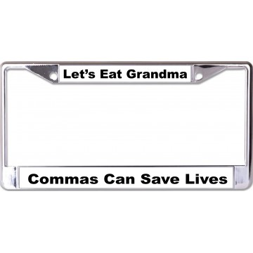 Commas Can Save Lives Chrome License Plate Frame