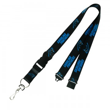 Carolina Panthers Black Team Lanyard With Neck Safety Latch