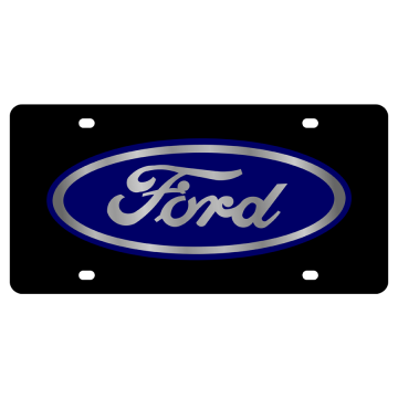 Ford Blue Logo On Black Laser License Plate