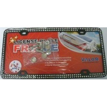 Chrome Coating Metal With Two Rows Of Black Diamonds License Plate Frame