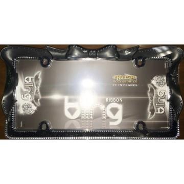 Black Ribbon Bow Crystal Bling License Plate Frame