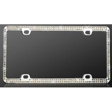 Chrome Coating Metal With Two Rows Of Diamonds License Plate Frame