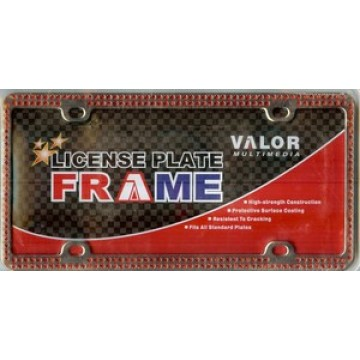 Chrome Coating Metal With Double Row Red Diamonds License Plate Frame