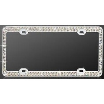 Chrome Coating Metal With Triple Row Diamonds License Plate Frame