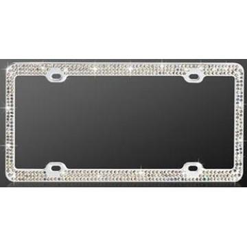 Chrome Coating Metal With Triple Row Diamonds License Plate Frame