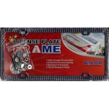 Chrome Coating Metal With Triple Row Light Purple Diamonds License Plate Frame