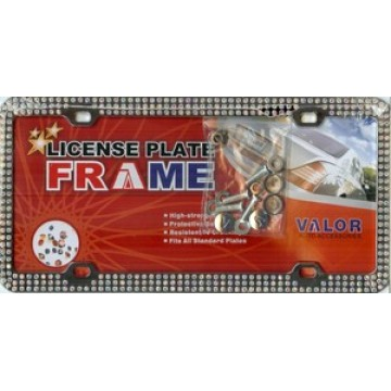 Chrome Coating Metal With Triple Row Multicolored Diamonds License Plate Frame