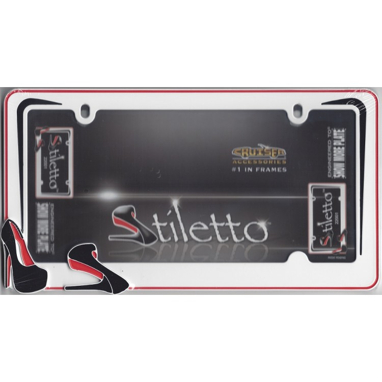 White With Red Border Stiletto License Plate Frame