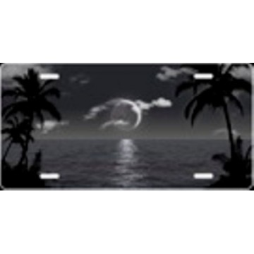 Grey And Black Scenic Palms Airbrush License Plate