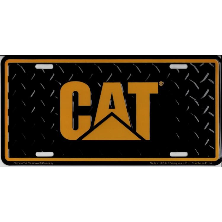 Caterpillar Logo On Diamond Plate License Plate