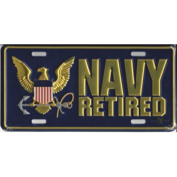 Navy Retired Metal License Plate