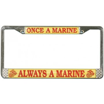 Once A Marine Always A Marine Chrome License Plate Frame