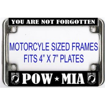 POW MIA Chrome Motorcycle License Plate Frame